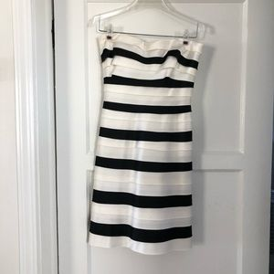 Black and white layered strapless cocktail dress
